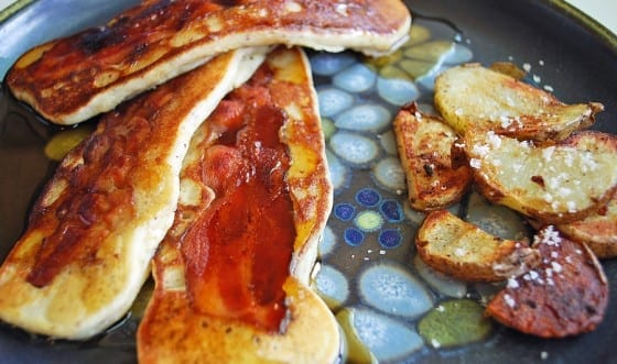 Pancake Battered Bacon with Maple Syrup and Breakfast Potatoes